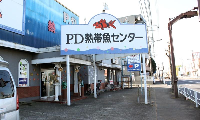 ピーデー熱帯魚センターの入り口。とても立派な看板。駐車場完備。