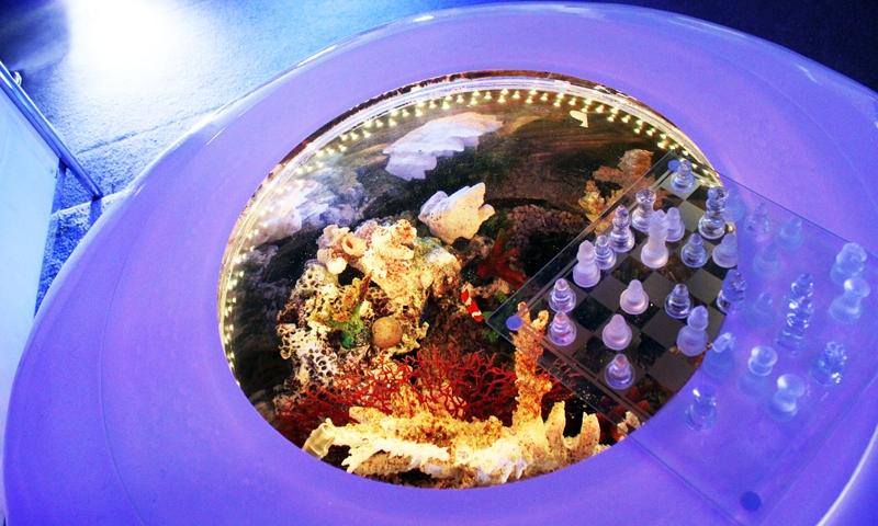 上から鮮明に見えるバーズアイ水槽「宙テーブル(UFO)」
