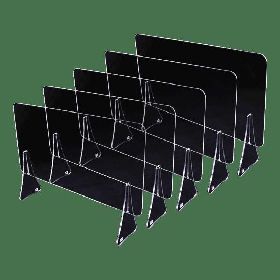 端材工房 卓上仕切り 軽量版 60x30cm 透明 横置き 下部隙間H10cm 5枚セット