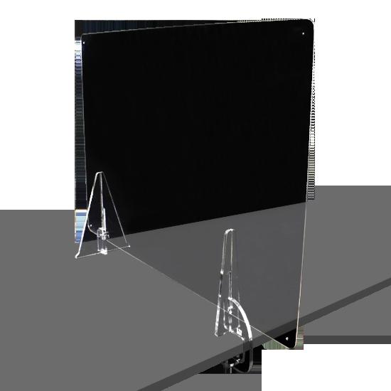 端材工房 卓上仕切り 垂直方向 横・縦置き・吊り兼用 87x60cm 透明 クランプ+3角