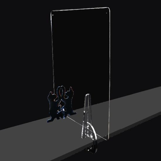 端材工房 卓上仕切り 側面用 横・縦置き・吊り兼用 30x60cm 透明 クランプ+招き猫