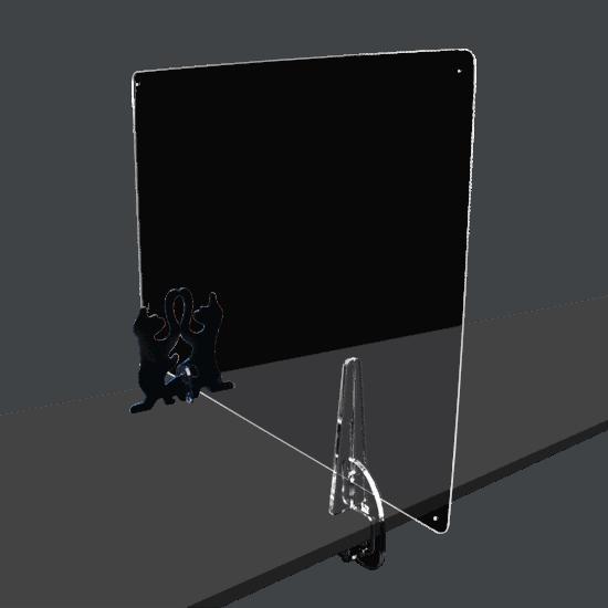端材工房 卓上仕切り 側面用 横・縦置き・吊り兼用 87x60cm 透明 クランプ+招き猫