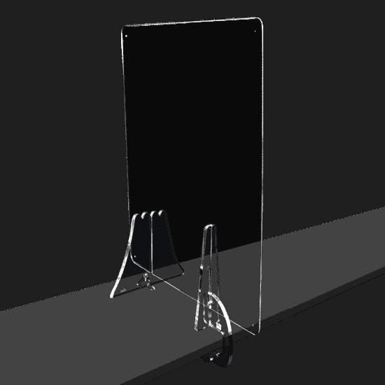 端材工房 卓上仕切り 側面用 横・縦置き・吊り兼用 30x60cm 透明 クランプ+富士山