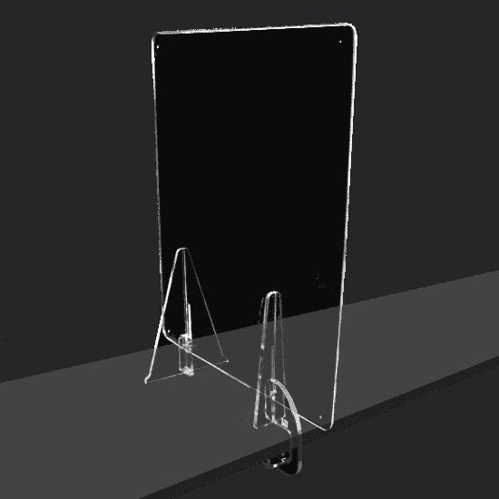 端材工房 卓上仕切り 側面用 横・縦置き・吊り兼用 30x60cm 透明 クランプ+3角式