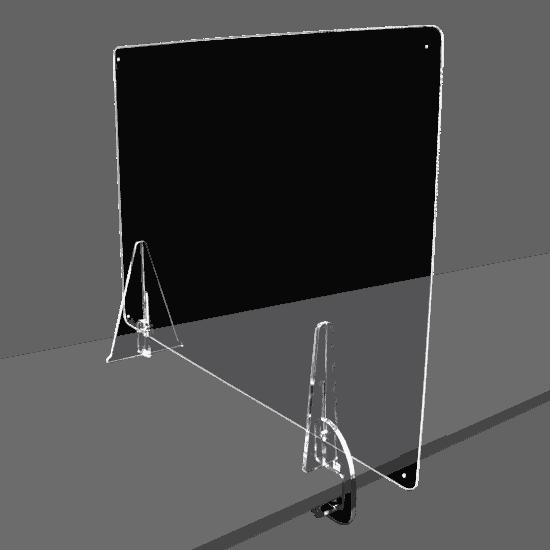 端材工房 卓上仕切り 側面用 横・縦置き・吊り兼用 87x60cm 透明 クランプ+3角式