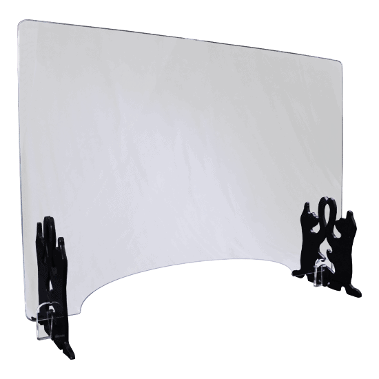 端材工房 卓上仕切り 窓付き 横置き 87x60cm 透明 招き猫版
