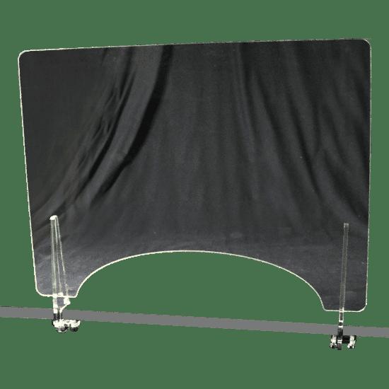 端材工房 卓上仕切り 窓付き 横置き 87x60cm 透明 クランプ式